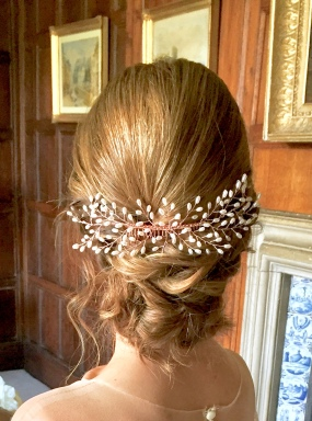 bridal hair with hair vine